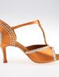 Women's Satin Sandals Pumps Latin Ballroom Salsa With Rhinestone T-Strap Buckle Dance Shoes (053026921)