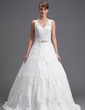 Ball-Gown V-neck Chapel Train Tulle Wedding Dress With Beading Appliques Lace Sequins (002004754)