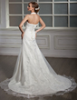 A-Line/Princess Halter Chapel Train Satin Organza Wedding Dress With Ruffle Lace Beading (002012015)
