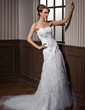 A-Line/Princess Sweetheart Chapel Train Tulle Lace Wedding Dress With Beading (002000474)
