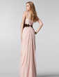 A-Line/Princess One-Shoulder Floor-Length Chiffon Prom Dress With Ruffle Beading Sequins Cascading Ruffles (018004909)