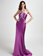 Sheath/Column V-neck Sweep Train Charmeuse Evening Dress With Ruffle Beading Appliques Lace Sequins (017015763)