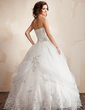 Ball-Gown Strapless Floor-Length Satin Organza Wedding Dress With Ruffle Lace Beading Flower(s) (002021817)