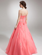 Ball-Gown Sweetheart Floor-Length Organza Quinceanera Dress With Beading Appliques Lace Sequins (021004558)