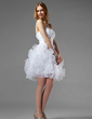 A-Line/Princess Sweetheart Knee-Length Organza Homecoming Dress With Beading Flower(s) Cascading Ruffles (022020751)
