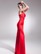 Trumpet/Mermaid One-Shoulder Sweep Train Charmeuse Evening Dress With Beading (017014571)