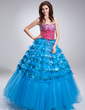 Ball-Gown Sweetheart Floor-Length Satin Tulle Sequined Quinceanera Dress With Beading Cascading Ruffles (021018805)