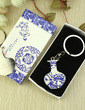 Personalized Blue-and-white Design Stainless Steel Keychains (Set of 6) (118033687)