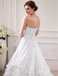 Ball-Gown Strapless Chapel Train Organza Lace Wedding Dress With Beading Pleated (002012590)
