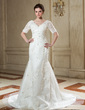Trumpet/Mermaid V-neck Chapel Train Tulle Wedding Dress With Beading Appliques Lace (002011999)