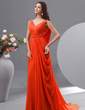 A-Line/Princess V-neck Sweep Train Chiffon Evening Dress With Ruffle (017022726)