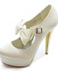 Women's Satin Stiletto Heel Closed Toe Platform Pumps With Bowknot Buckle (047017781)