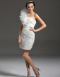 Sheath/Column One-Shoulder Short/Mini Organza Homecoming Dress With Beading Cascading Ruffles (022013821)