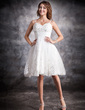 A-Line/Princess Sweetheart Knee-Length Satin Organza Wedding Dress With Ruffle Lace Beading (002004479)
