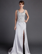A-Line/Princess Scoop Neck Court Train Charmeuse Prom Dress With Beading Split Front (018015893)