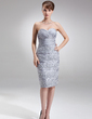 Sheath/Column Sweetheart Knee-Length Taffeta Mother of the Bride Dress With Ruffle Appliques Lace Sequins (008006511)