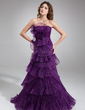 A-Line/Princess Strapless Sweep Train Organza Prom Dress With Cascading Ruffles Pleated (018020685)