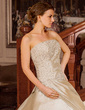 Ball-Gown Strapless Court Train Taffeta Wedding Dress With Ruffle Beading Appliques Lace (002012179)