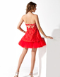 A-Line/Princess Sweetheart Short/Mini Taffeta Cocktail Dress With Lace Beading (016008255)
