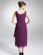 Sheath/Column Square Neckline Tea-Length Chiffon Mother of the Bride Dress With Beading Cascading Ruffles (008006001)