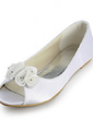 Women's Satin Flat Heel Peep Toe Sandals With Satin Flower (047020125)