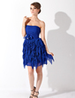 A-Line/Princess Strapless Short/Mini Chiffon Homecoming Dress With Beading Flower(s) Cascading Ruffles (022020850)
