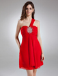 Empire One-Shoulder Short/Mini Chiffon Homecoming Dress With Ruffle Beading (022009842)
