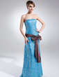 A-Line/Princess Strapless Sweep Train Sequined Prom Dress With Sash Bow(s) (018015858)
