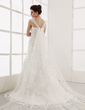 A-Line/Princess Sweetheart Watteau Train Tulle Wedding Dress With Appliques Lace (002011654)