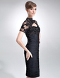 Sheath/Column High Neck Knee-Length Chiffon Mother of the Bride Dress With Ruffle Lace Beading (008005964)