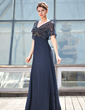 A-Line/Princess V-neck Floor-Length Chiffon Mother of the Bride Dress With Beading (008018938)