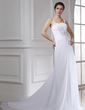 A-Line/Princess Chapel Train Chiffon Wedding Dress With Beading Appliques Lace Cascading Ruffles (002015471)