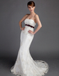 Trumpet/Mermaid Sweetheart Court Train Lace Wedding Dress With Sash Beading Bow(s) (002015691)