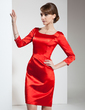 Sheath/Column Square Neckline Knee-Length Charmeuse Cocktail Dress With Beading (016021239)
