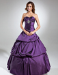 Ball-Gown Sweetheart Floor-Length Taffeta Quinceanera Dress With Ruffle Beading (021020608)