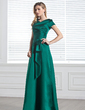 A-Line/Princess V-neck Floor-Length Satin Bridesmaid Dress With Ruffle Flower(s) (007001491)