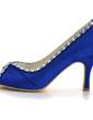 Women's Satin Stiletto Heel Peep Toe Pumps With Rhinestone (047039641)