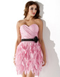 Sheath/Column Sweetheart Short/Mini Taffeta Homecoming Dress With Ruffle Sash (022021004)