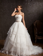 Ball-Gown Sweetheart Chapel Train Organza Wedding Dress With Sash Appliques Lace Sequins Bow(s) Cascading Ruffles (002015163)