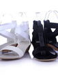 Leatherette Wedge Heel Wedges Sandals With Zipper (087026606)
