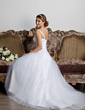 A-Line/Princess Sweetheart Court Train Tulle Wedding Dress With Ruffle Flower(s) (002013798)