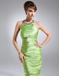 Sheath/Column Scoop Neck Knee-Length Charmeuse Cocktail Dress With Ruffle Beading (016021182)