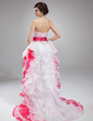 A-Line/Princess Sweetheart Asymmetrical Organza Prom Dress With Lace Cascading Ruffles (018018804)