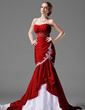 Trumpet/Mermaid Sweetheart Chapel Train Taffeta Lace Wedding Dress With Beading Cascading Ruffles (002000478)