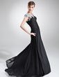 A-Line/Princess V-neck Sweep Train Chiffon Mother of the Bride Dress With Ruffle Lace (008005658)