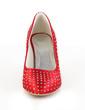 Women's Satin Wedge Heel Closed Toe Wedges With Rhinestone (047033125)