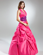 Ball-Gown Halter Floor-Length Taffeta Quinceanera Dress With Ruffle Sash (021015575)