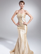 Trumpet/Mermaid Strapless Sweep Train Taffeta Mother of the Bride Dress With Beading Sequins (008015011)