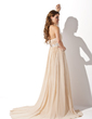 Empire Strapless Court Train Chiffon Wedding Dress With Ruffle Beading (002000454)