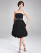 A-Line/Princess Strapless Knee-Length Chiffon Homecoming Dress With Beading Cascading Ruffles (022010535)